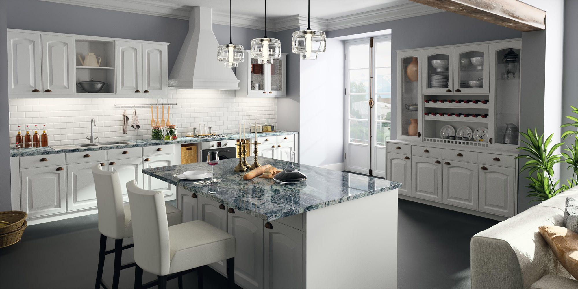 Sensa Waterfall Granite Kitchen Countertop